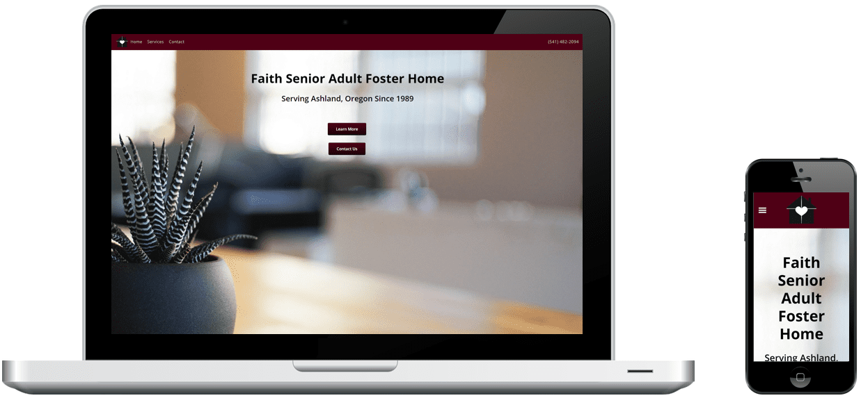 Faith Senior Adult Foster Home's website on a laptop and phone, designed by Rogue Marketing Pros