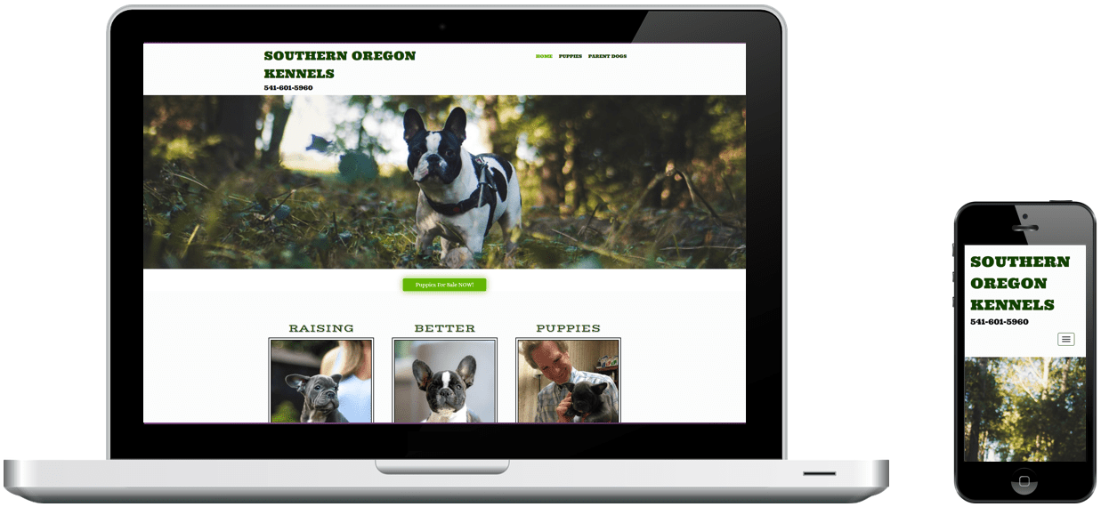 Southern Oregon Kennels' website on a laptop and phone, designed by Rogue Marketing Pros